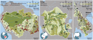 In addition to basin-wide biodiversity summaries (upper left in first two panels, middle in third panel), each basin can be divided into ecoregions (white boundaries). Many species are found only in a single ecoregion (black numbers), and subbasins within each river basin differ widely in their total species richness (shades of green illustrate breakpoints between quartiles in rank order within each basin)